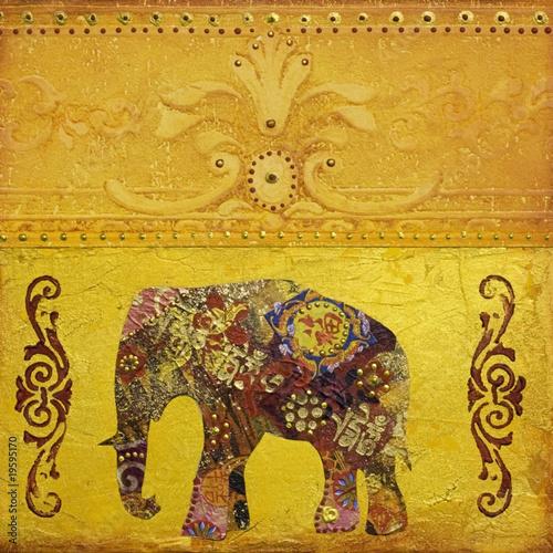 Photo  Indischer Elefant gemalt