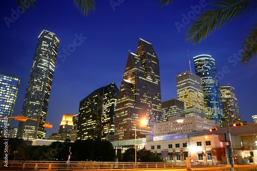 Poster Texas Houston downtown city urban bulidings view