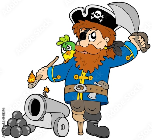 Poster de jardin Pirates Cartoon pirate with cannon
