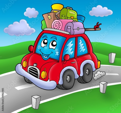 Poster de jardin Voitures enfants Cute car with baggage on road