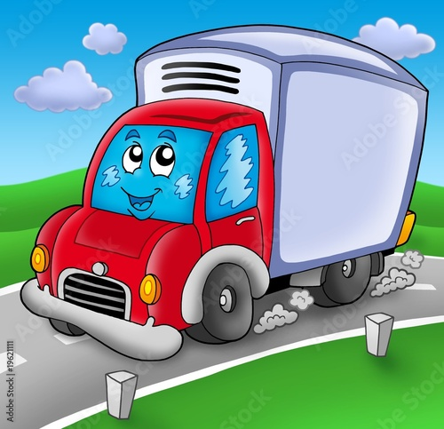 Stickers pour porte Voitures enfants Cute delivery car on road