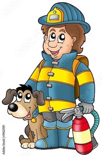 Foto-Stoff - Firefighter with dog and extinguisher (von Klara Viskova)