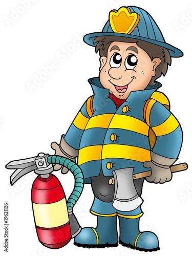 Foto-Stoff - Fireman holding fire extinguisher (von Klara Viskova)
