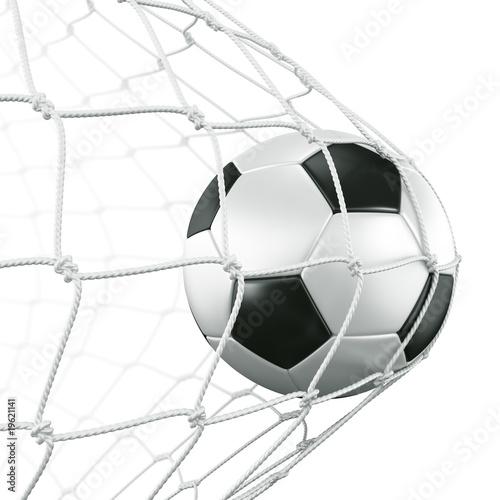 Photo  Soccerball in net