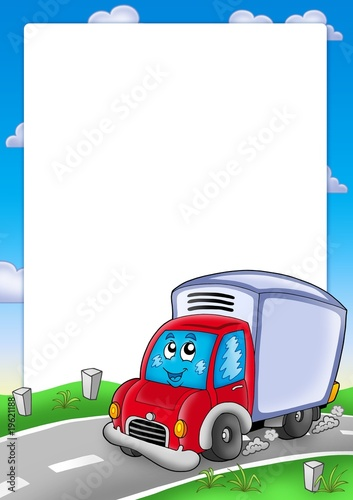 Foto op Canvas Cars Frame with cute delivery car
