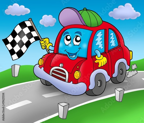 Poster de jardin Voitures enfants Car race starter on road