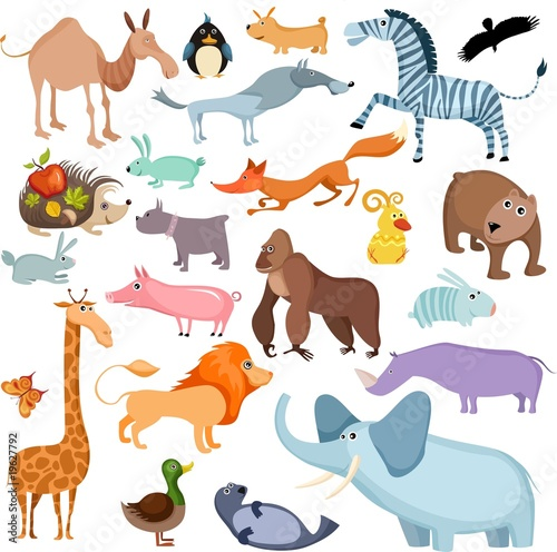 Deurstickers Zoo big animal set