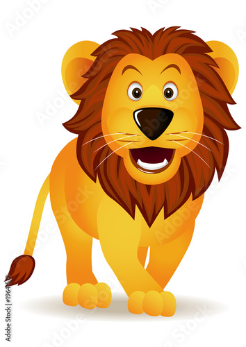 Poster de jardin Zoo Funny lion isolated
