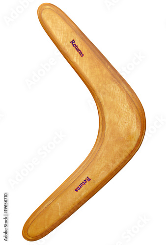 Aussie boomerang natures return ticket in wood Canvas Print