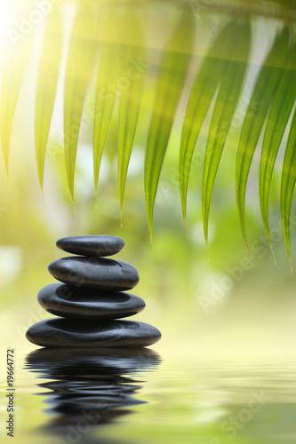 liscie-bambusa-grean-nad-piramidy-kamieni-zen-nad-woda