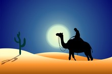 Illustration Of Camel With Out Man In Desert Background