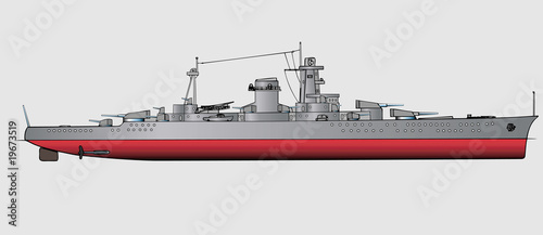 Vector illustration of battleship Fototapet