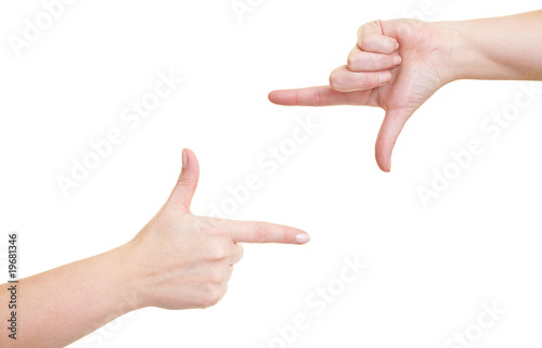 Photo  Finger halten Rahmen