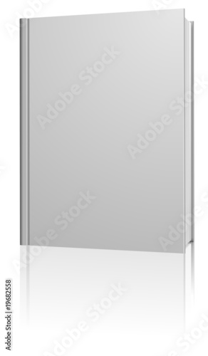 Fotografering  Standing blank hardcover book isolated on white.