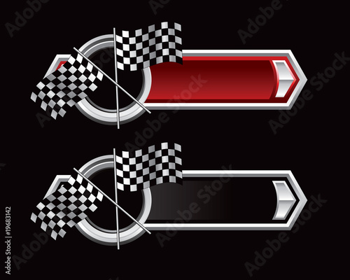 Foto op Plexiglas F1 checkered flags red and black arrows