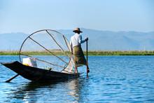 Fisherman In Inle Lake, Myanmar.
