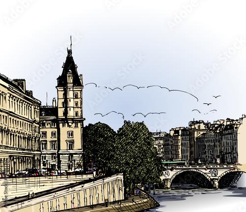 Foto auf AluDibond Gezeichnet Straßenkaffee panoramic view of river Seine Pont Neuf bridge