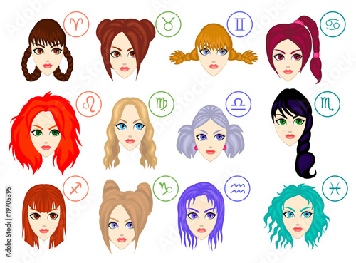 Zodiac Signs As Women With Different Hairstyles Buy This Stock
