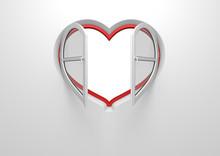 Heart Window Opened Sun Blinds (love, Valentine Day Series)