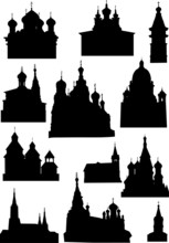 Set Of Church Silhouettes