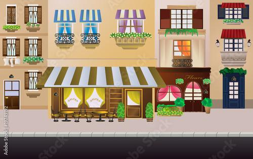 Foto auf AluDibond Gezeichnet Straßenkaffee Stylish french street with coffee and flower shop