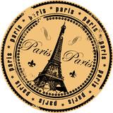 Fototapeta Fototapety Paryż - Grunge rubber stamp with the Eiffel Tower symbol