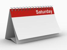 Calendar For Saturday On White...