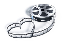Movie Films Spool With Heart Shaped Film