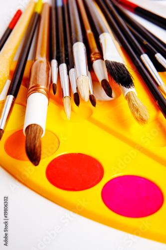Fototapeta Brushes and paints obraz na płótnie