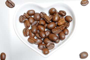 Panel Szklany Do kawiarni Kaffee Bohnen. Liebe Valentin herz