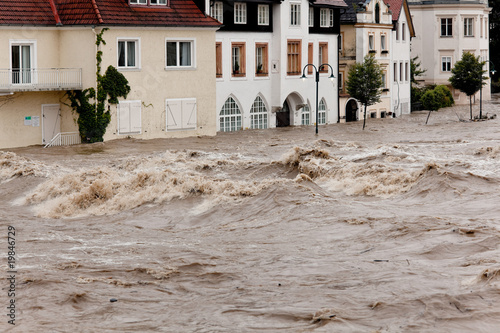 Leinwand Poster Floods and flooding in Steyr, Austria