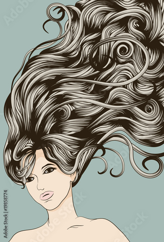 Acrylic Prints Watercolor Face Woman's face with long detailed flowing hair