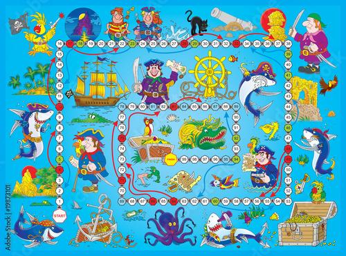 """Poster de jardin Route Board game """"Pirates"""""""
