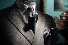 Grey Checkered Jacket, Dark Bl...