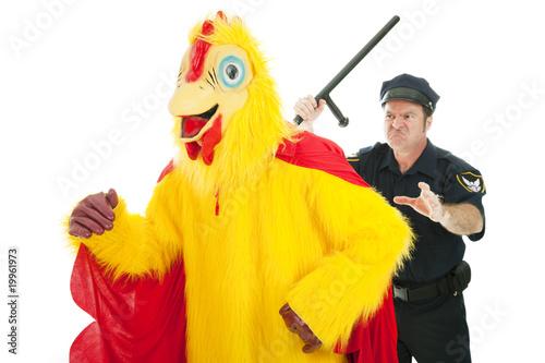 Fotografie, Tablou  Cop Chasing Chicken Man