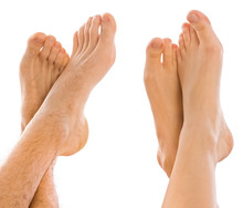 Young Couples Foot Side By Side