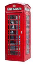 Red Telephone Booth In London Isolated On White