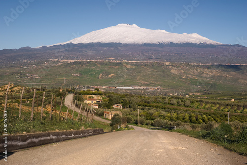 road for mount Etna Canvas Print