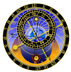 Panel Szklany Znaki Zodiaku astronomical clock - vector