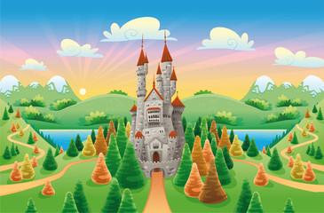 Panorama sa srednjovjekovnim dvorcem. Crtani film i vektorska ilustracija