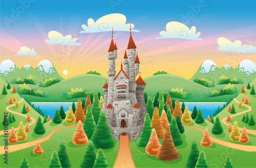 Photo Stands Castle Panorama with medieval castle. Cartoon and vector illustration
