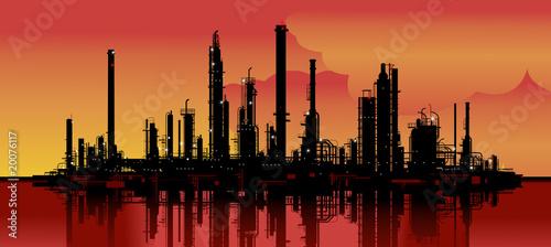 Photo sur Toile Art Studio Vector illustration of an oil refinery