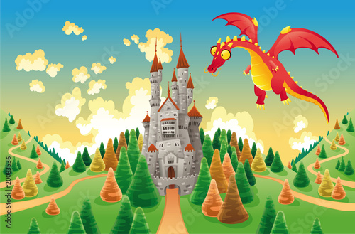 Panorama with medieval castle and dragon. Vector illustration