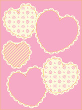 Vector With Victorian Eyelet Trimmed Hearts And Copy Space