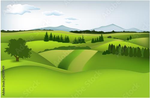 In de dag Lime groen Mountain spring landscape