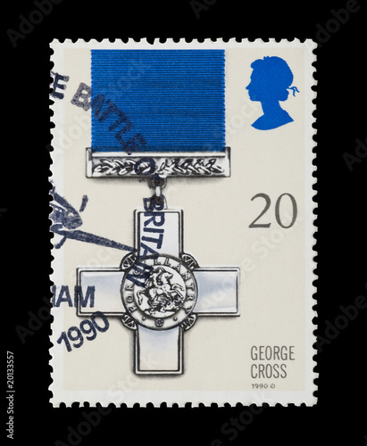Leinwand Poster british mail stamp featuring the George Cross gallantry medal