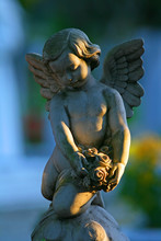 A Statue Of A Baby Angel In A Christian Cemetery