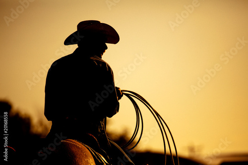 Photo  rodeo cowboy silhouette