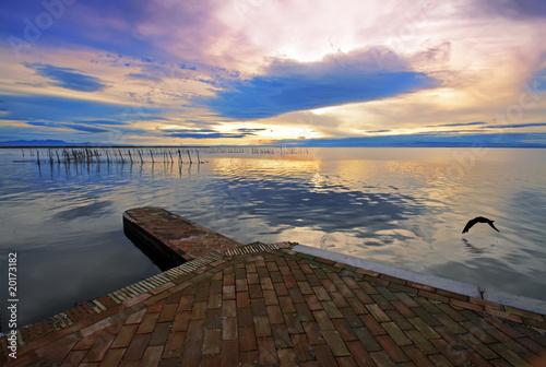 Tuinposter Pier el ave en el lago