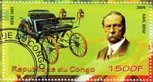 Stamp Showing Karl Benz Vs Car